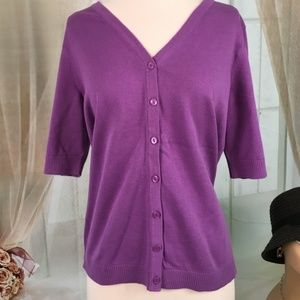 Christopher & Banks Purple Button Down Knit Top